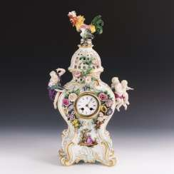 Porcelain clock with cock