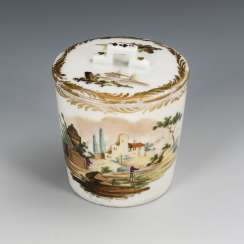 Lidded cup with landscape painting