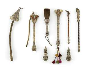 Group of paint brushes, pipes, containers and whips, silver, partially gold-plated and with stones
