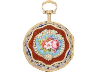 Pocket watch: a Museum Gold/enamel Spindeluhr with an extremely rare pearl stocking, George Prior London No. 9830, Hallmarks London 1795, fantastic condition