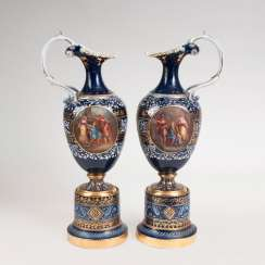 Large pair of magnificent jugs in the Viennese manner.