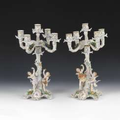 Candlestick pair with cupids, seat of the village