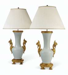 A PAIR OF FRENCH ORMOLU-MOUNTED CELADON VASES, MOUNTED AS LAMPS