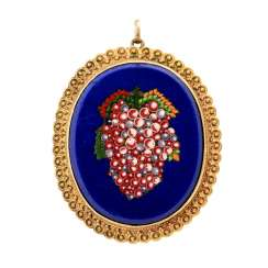 Brooch / pendant with Italian micro-mosaic made of glass,