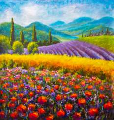 Original art: Italian summer countryside. French Tuscany. Field of red poppies, a field of yellow rye. Rural houses and high cypress trees on the hill. Mountains in the background.