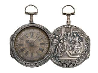 Pocket watch: Augsburger double case repoussé technology-Spindeluhr with a relief of the casing in exceptional quality, and percussion, Salomon Sack, Augspurg, CA. 1735