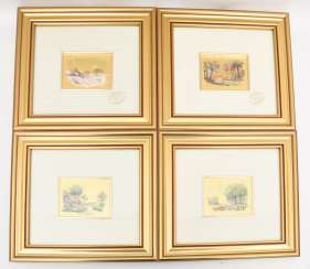 CONV. Art lithography, Four landscape views with gold foil, 20. Century