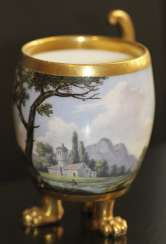 Cup and saucer with landscape, Western Europe, mid XIX century