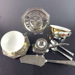 Tea set: porcelain painted in Gold and equipped, silver cap, silver-plate, silver-spoon, 900, Vietnam, very good.