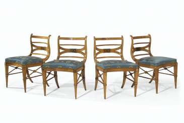 A SET OF FOUR ITALIAN BEECHWOOD PARCEL-EBONIZED AND PARCEL-G...