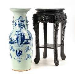 Large Chinese Vase on a wooden table.