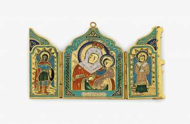 Pendant in the Form of a Russian icon (triptych). St. Petersburg, 1896-1905, HOLLMING, AUGUST FREDERIK