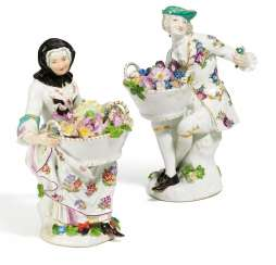 Gardener and gardeners with baskets of flowers