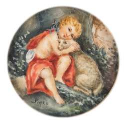MINIATURE 'JOHANN' BOY WITH LAMB' IN THE ORNAMENTAL FRAME