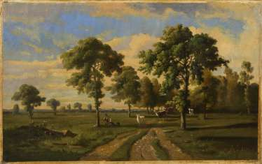 Indistinctly signed: Wide landscape with shepherds