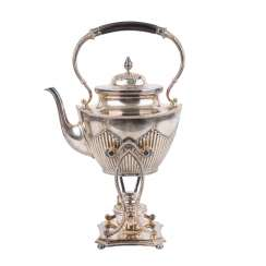 Teapot with Rechaud, 1. H. 20. Century, Alpacca,