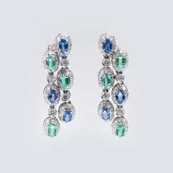 Pair of sapphire and emerald earrings