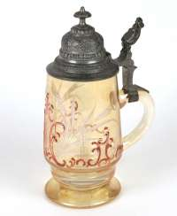 Historicism jug with pewter lid around 1880