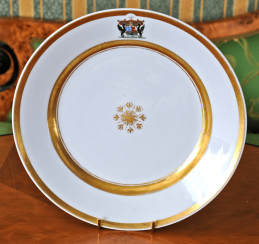 Plate with the coat of arms of the Imperial porcelain factory, 1840 - 1850s g