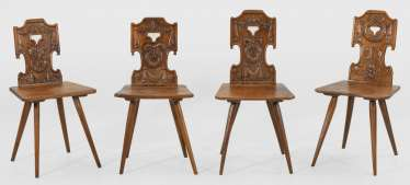 Set of six pigtail style board chairs