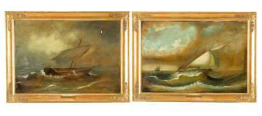 Thomas Ender (1793-1875)-attributed A pair of painting with ships in heavy sea