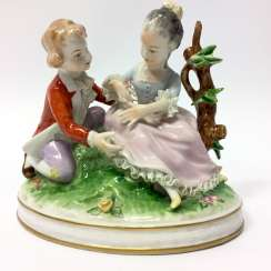 Figure group porcelain: Baroque style / children as a couple in Love, Baroque clothing, equipped fine, Weiss, Bach, very good