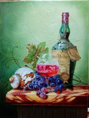 """Still life with a bottle of wine, a shell and grapes"""