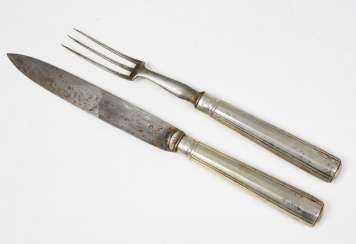 Silver fork & knife South German. 1770