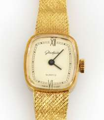 Gold plated ladies wristwatch, GLASHÜTTE