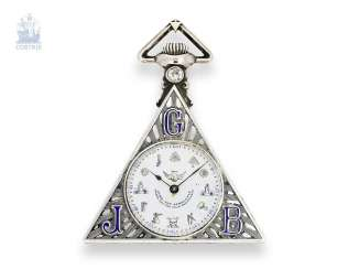 Pocket watch: rare Masonic pocket watch, Tempor Watch co., Switzerland around 1930, silver/enamel case of the Holy Frères