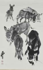 Hanging scroll with painting of six donkeys
