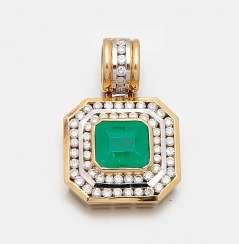 Representative Colombian emerald and diamond pendant