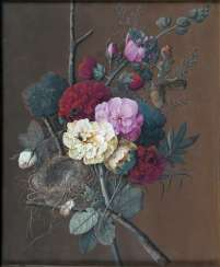 Bouquet with flowers, bird's nest and insects. Jan Frans van Dael