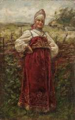 Young woman in costume in front of the pasture fence