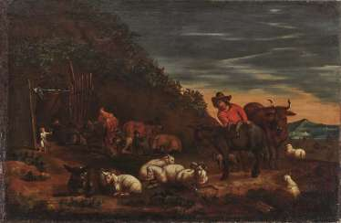 Shepherd with cattle at the farrier