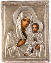 SMALL ICON OF MOTHER OF GOD OF TIKHVIN (TICHWINSKAJA) WITH SILVER OKLAD