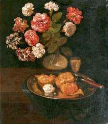Table still-life with carnation bouquet, pomegranate, and Sherry. The Dutch Still Life Painter
