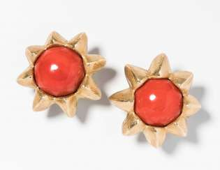 Philippe Pfeiffer Coral Stud Earrings