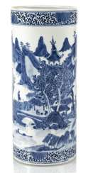 Cylindrical Vase made of porcelain with underglaze blue landscape decoration