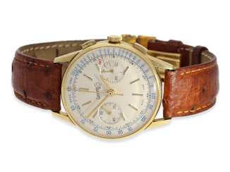 Wrist watch: great vintage Tachymeter Chronograph by Eberhard & co., 18K Gold, approx 1960
