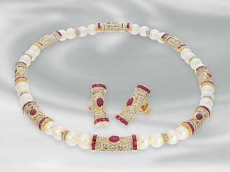 Chain/necklace/earrings: high-class jewelry made from cultured pearls, necklace and Earrings with full Diamonds, total approx. 6,9 ct brilliant and 8.6 ct ruby, 18K Gold