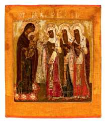 Mother of God with Christ child and Rostov saints
