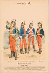GERMAN LITHOGRAPH Active in the 2nd half of the 19th century. Five works: Uniforms of the Imperial Russian Army. Lithograph on paper. Min. 20 cm x 13
