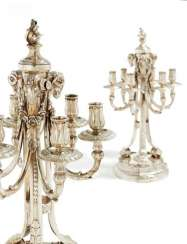 PAIR of SPLENDID CANDELABRA WITH WIDDERZIER the STYLE of LOUIS XVI. of Heilbronn. Bruckmann & Söhne.
