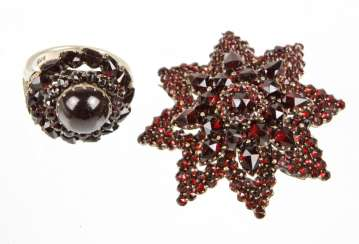 Garnet star brooch & Ring