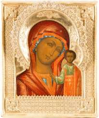 ICON OF THE MOTHER OF GOD OF KAZAN (KAZANSKAYA) WITH VERMEIL-RIZA