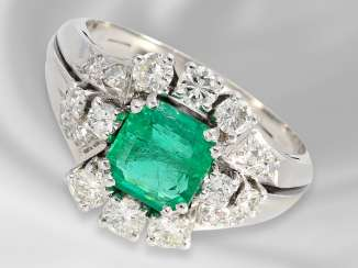 Ring: decorative vintage gold wrought ring with a very beautiful emerald and brilliant-cut diamonds/diamonds, approx 2ct