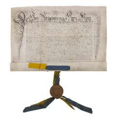 A deed of 1703, with fruit-tree wood-sealed capsule