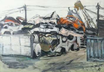 Silberberger, Adolf Stuttgart 1922 - 2005 ibid, painter and graphic artist, studied at the Stuttgart Academy with Baumeister, Gollwitzer, Meid and Henninger. '' Car cemetery ''