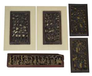 Five carved panels, some with gold lacquer